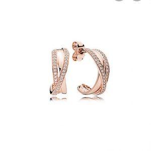 Rose Gold Entwined Hoop Earrings